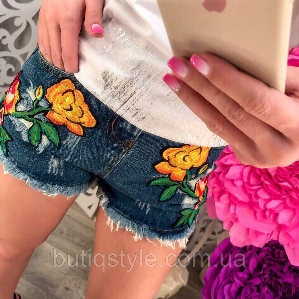 Стильные женские джинсовые шорты с вышивкой