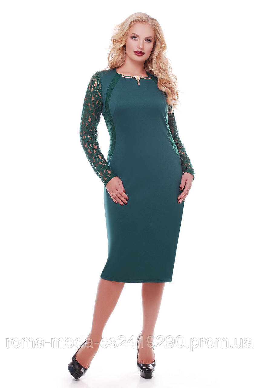 Нарядное платье женское Аделина изумруд