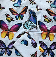 Комплект белого постельного белья из бязи Gold бабочки двуспальный