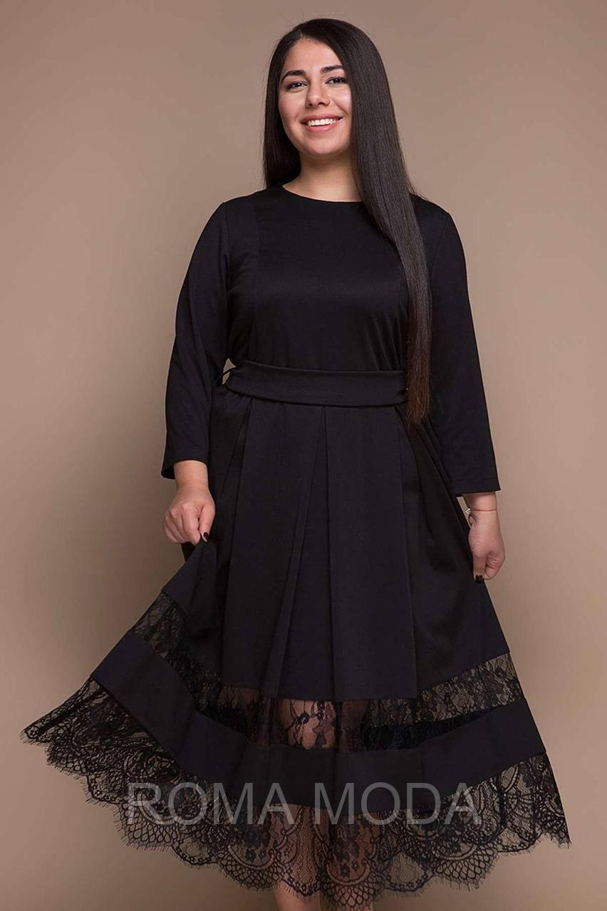Нарядное платье с французским кружевом ФЛОРЕНС черное