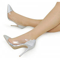 Серебристые женские туфли на шпильке 167462 36,37,38,39,40