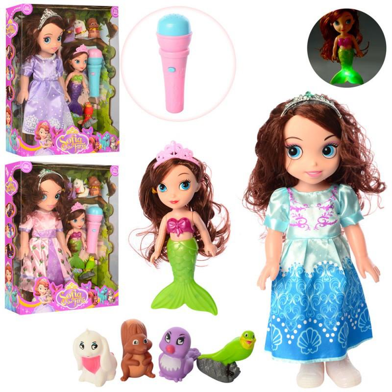 Кукла принцесса София и русалка, микрофон, животные, 3 вида, XD50-456