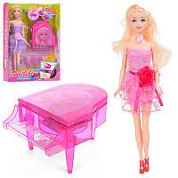 Кукла типа барби музыкант, пианистка, аксессуары,пианино (заводное), микрофон,BLD126