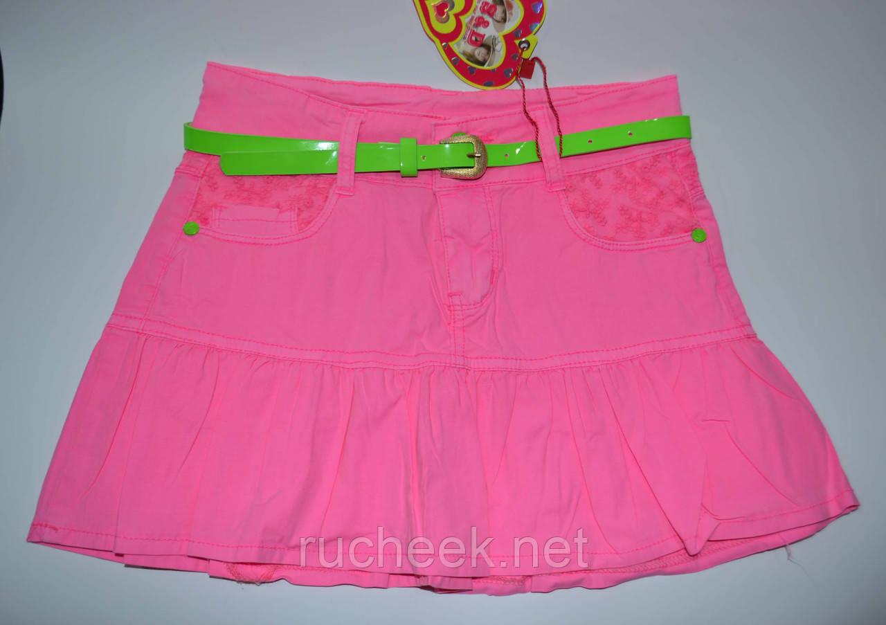 Яркая коттоновая юбка с оборкой для девочек рост 128, 134, S&D KK-G14  Венгрия