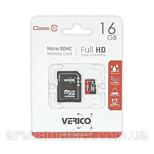 Карта памяти Verico MicroSDHC 16GB Class 10 - SD Адаптер