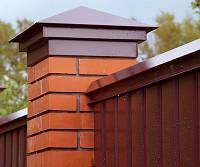 КРЫШКА на столбы забора, КОЛПАК на столб заборный, Металлическая крышка на забор, фото 1