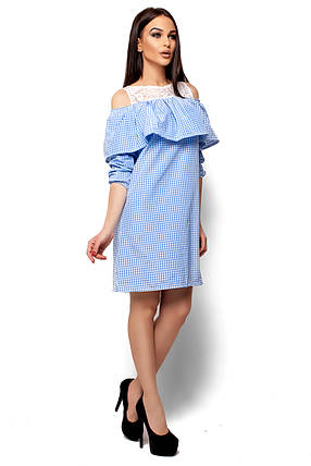 Платье А-силуэта в голубую полоску с воланом рукав 3/4, фото 2