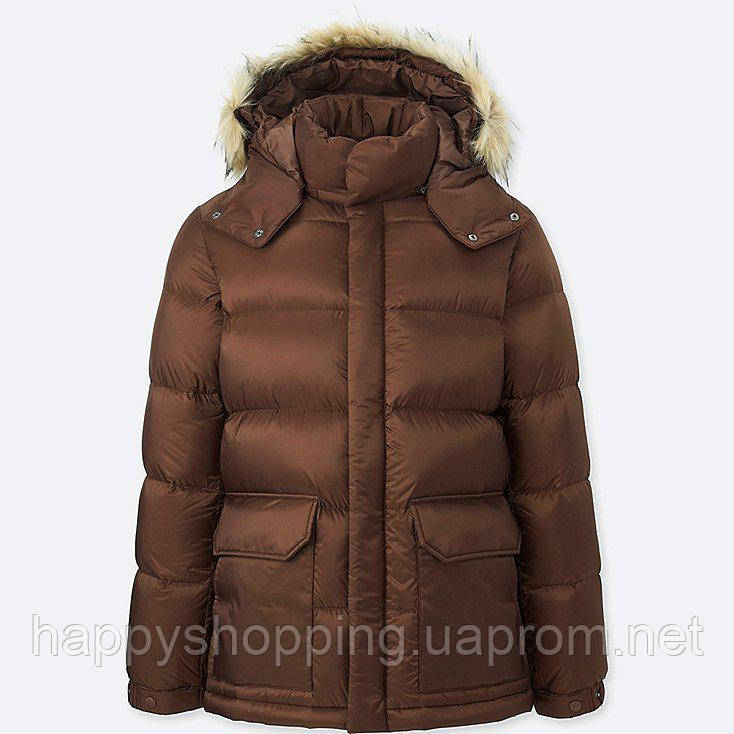 423683e66fafe Мужской коричневый пуховик с капюшоном Uniqlo - Happy Shopping в Киеве