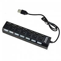 USB хаб разветвитель VivaTech Hub-07 Black (7 портов и кнопки)