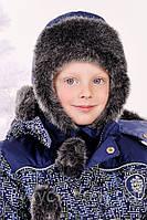 """Детская зимняя шапка для мальчика """"Схемы"""" опт"""
