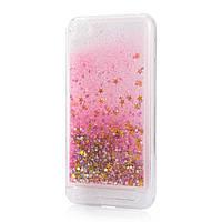 Чехол Glitter для Xiaomi Redmi 5a Бампер Жидкий блеск звезды розовый