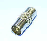 Переходник антенный штекер ТВ - гнездо F, gold pin, цинк