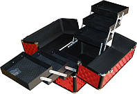 Кейс для мастера красный профессиональный металлический раздвижной tj-255 yre, чемодан для визажа