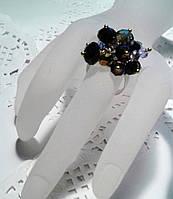 Кольцо  для выпускного вечера черное - из чешского хрусталя