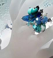 Кольцо  для выпускного вечера голубое - из чешского хрусталя , фото 1