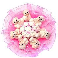 Букет из мягких игрушек Мишки 7 с розами в розовом