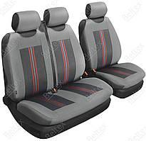 Чехлы-маечки для VOLKSWAGEN Transporter T6, водитель + 2 пассажира, цвет: серый