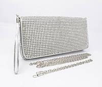 Вечерний клатч, сумочка Rose Heart  3211 серебро с белыми стразами, фото 1
