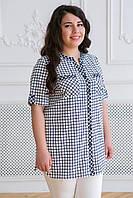 Хлопковая женская рубашка в клетку, фото 1