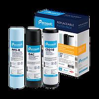 Комплект картриджей для проточных фильтров и систем обратного осмоса Экософт Ecosoft Filter1 удаление хлора