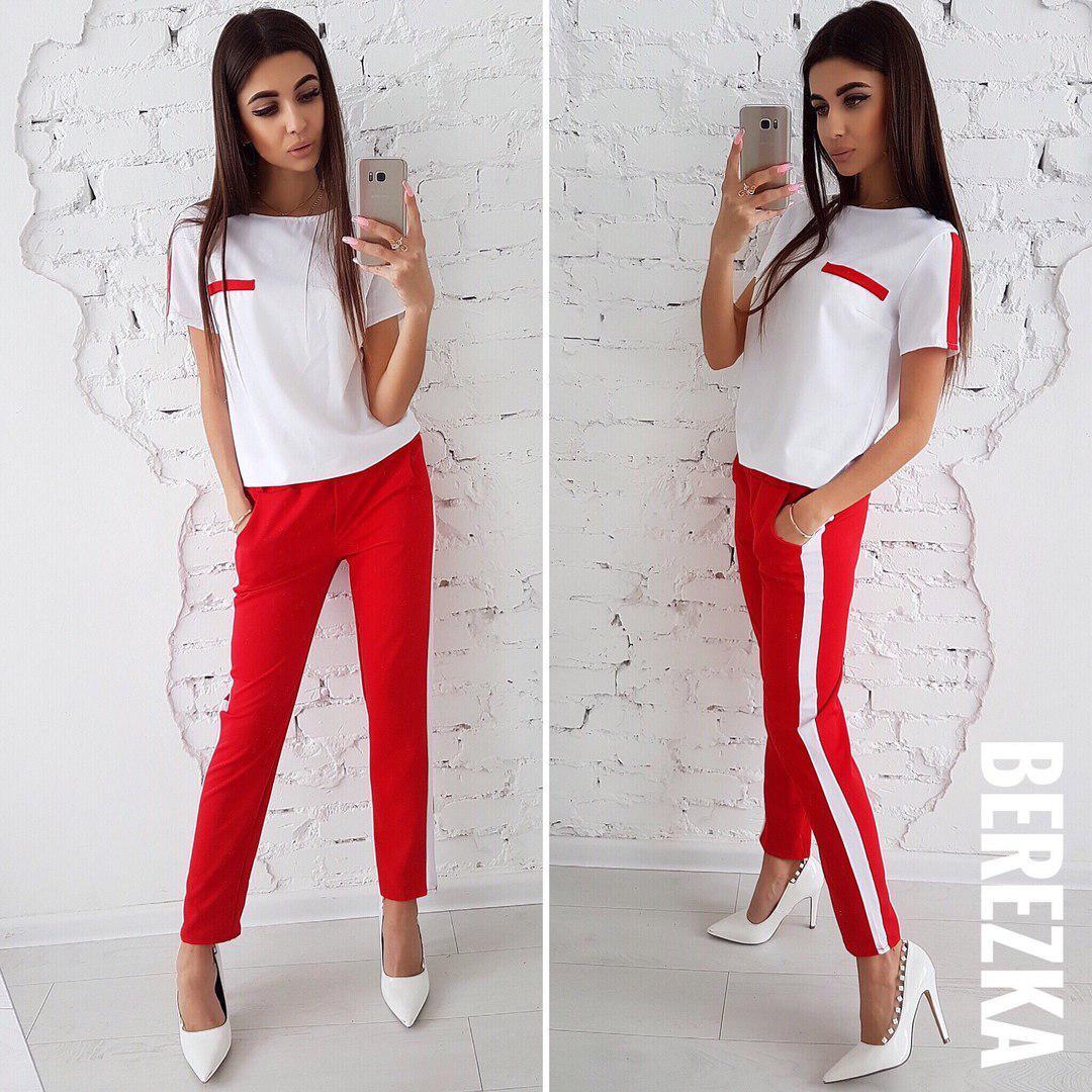 женский костюм из креп костюмки в стиле Zara футболка и брюки с