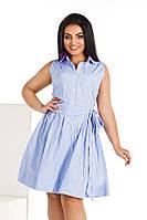 Женское платье с карманами. Размеры 42-52. Ткань-Коттон. Цвет-серая полоска,голубая полоска,белая полоска