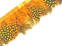 Перья цесарки Оранжевые в горох декоративные на ленте 5 см/50 см, фото 1