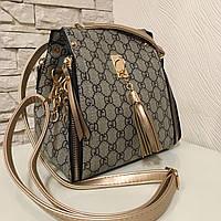 Стильная молодежная женская сумка-рюкзак бежевого цвета с принтом ,бренд сезона 2018