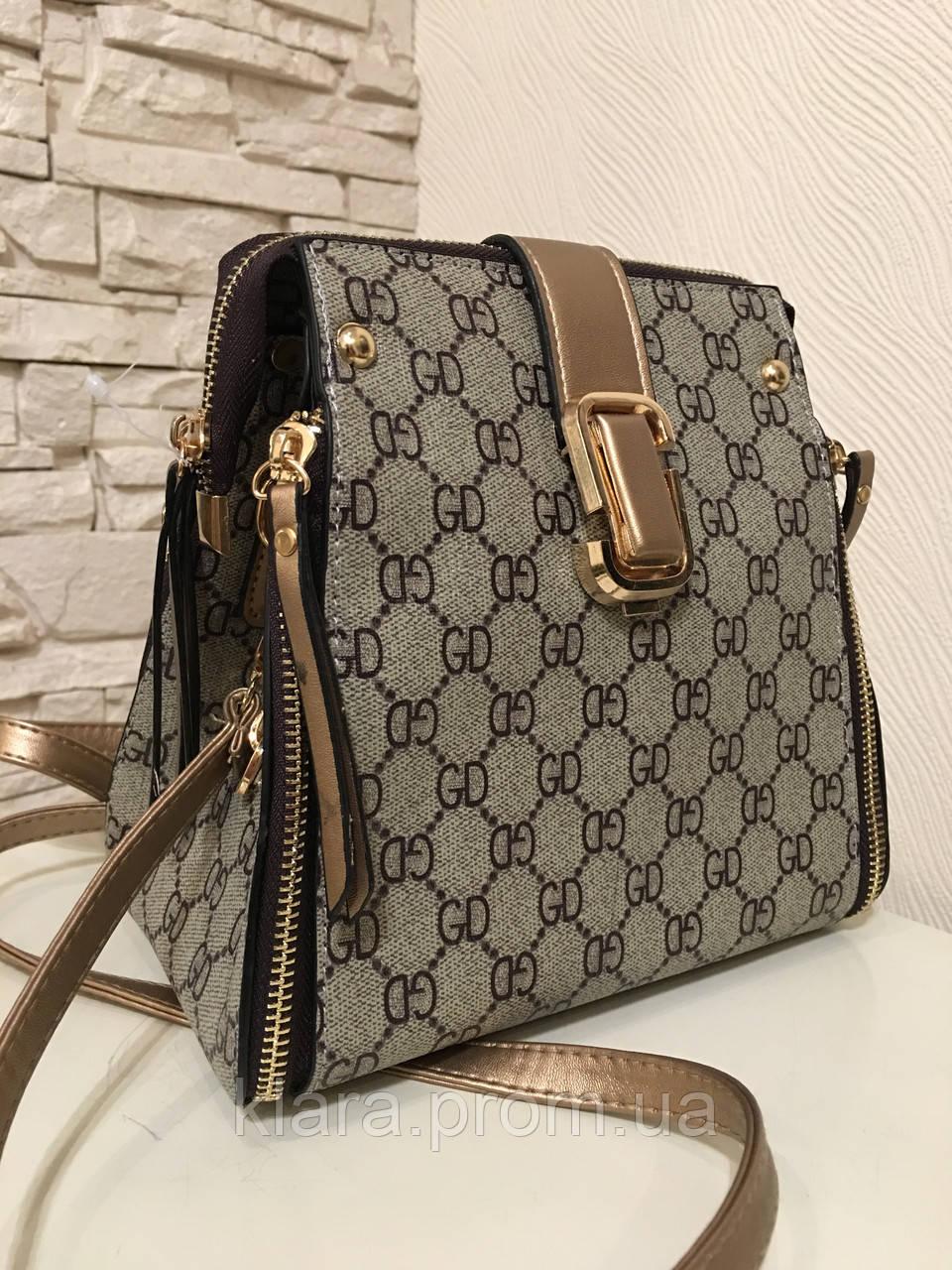 93b7a99c944e Добротная молодежная женская сумка-рюкзак бежевого цвета с принтом ,новинка  сезона 2018
