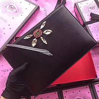 Gucci клатч кожаный черный