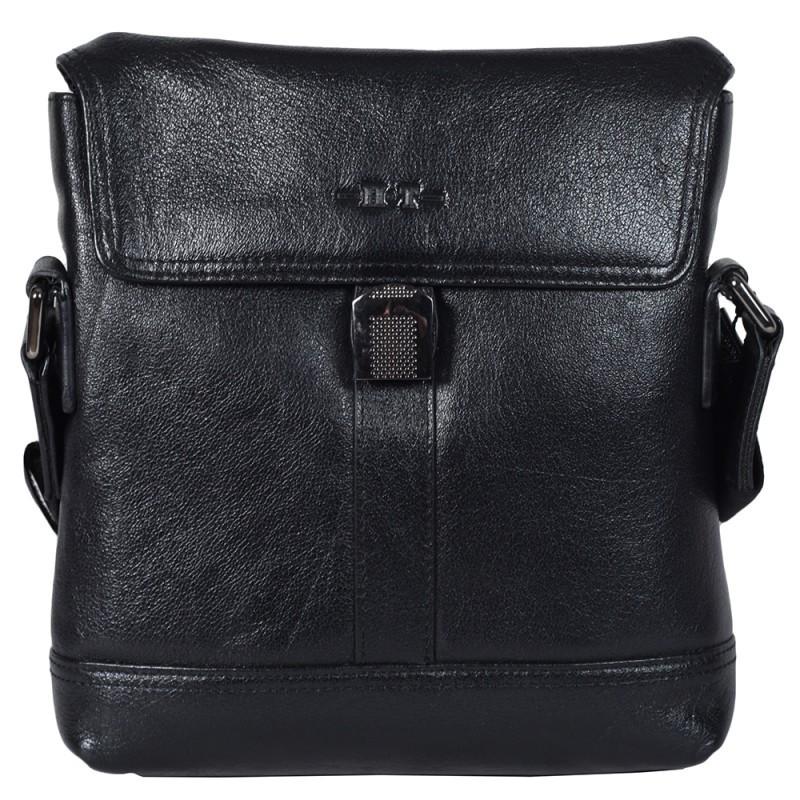 76c74cdbd0f5 Мужская сумка из натуральной кожи с плечевым ремнем черная High Touch  HT007816-41