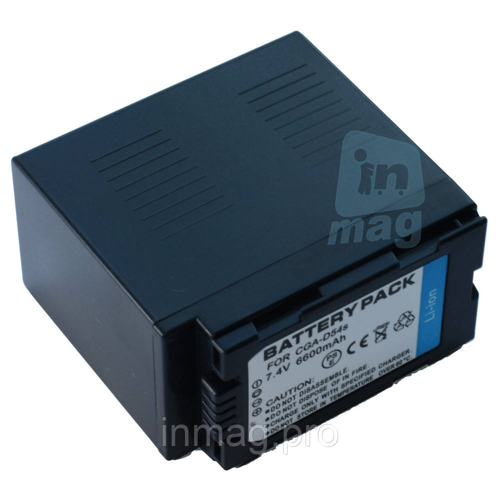 Аккумулятор для видеокамеры Panasonic CGA-D54S / CGR-D54S, 6600 mAh.