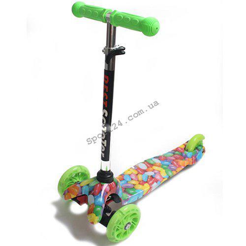 Детский 3 х колесный Самокат Scooter Mini Светящиеся колеса Карамель (от 2 лет, до 35 кг)