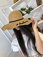Женская пляжная шляпа с вышивкой на полях и с ленточкой