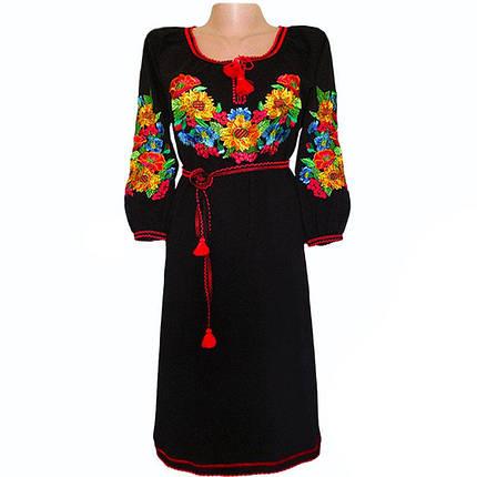Платье вышитое гладью с поясом, фото 2