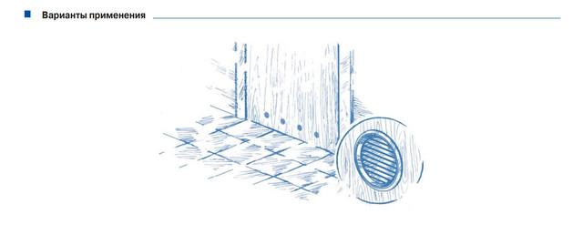 Дверные решетки круглые пример монтажа