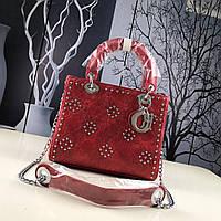 Dior бордовая сумка линейки Lady Dior