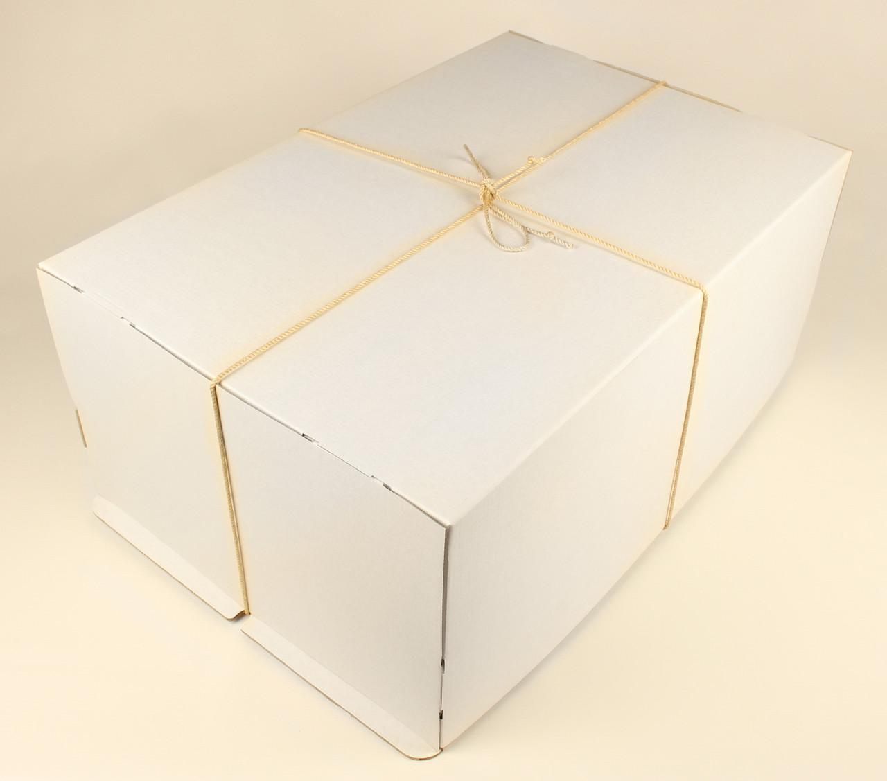 Коробка ГОФР / 600х400х250 мм / ГОФР-Белая / б.о. / для торт