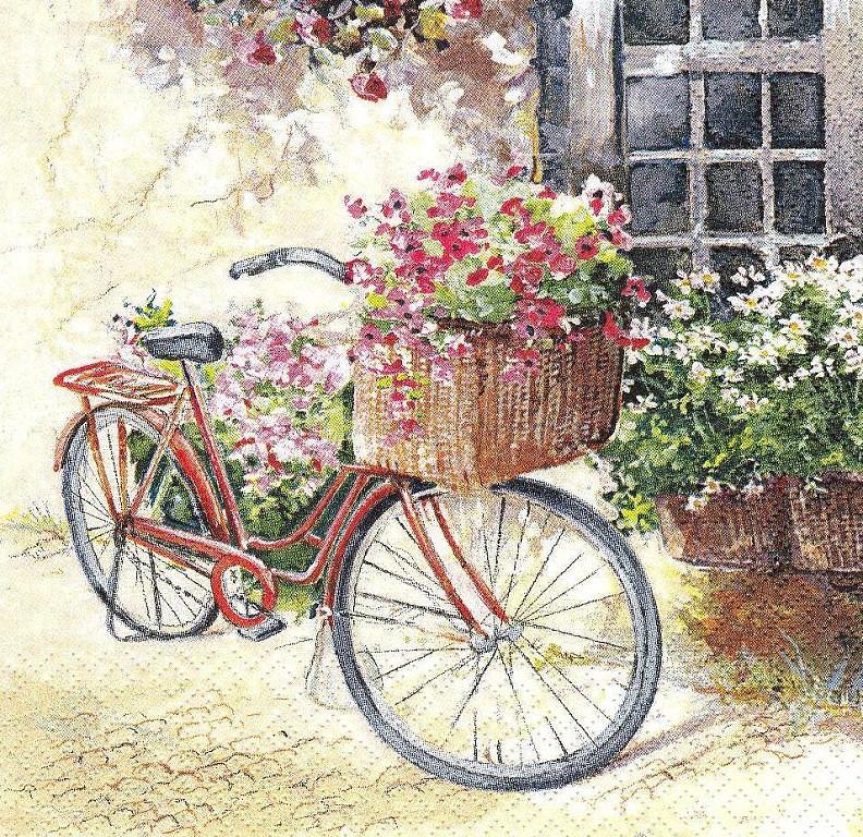 Рідкісна декупажна серветка Велосипед з кошиком квітів 3720
