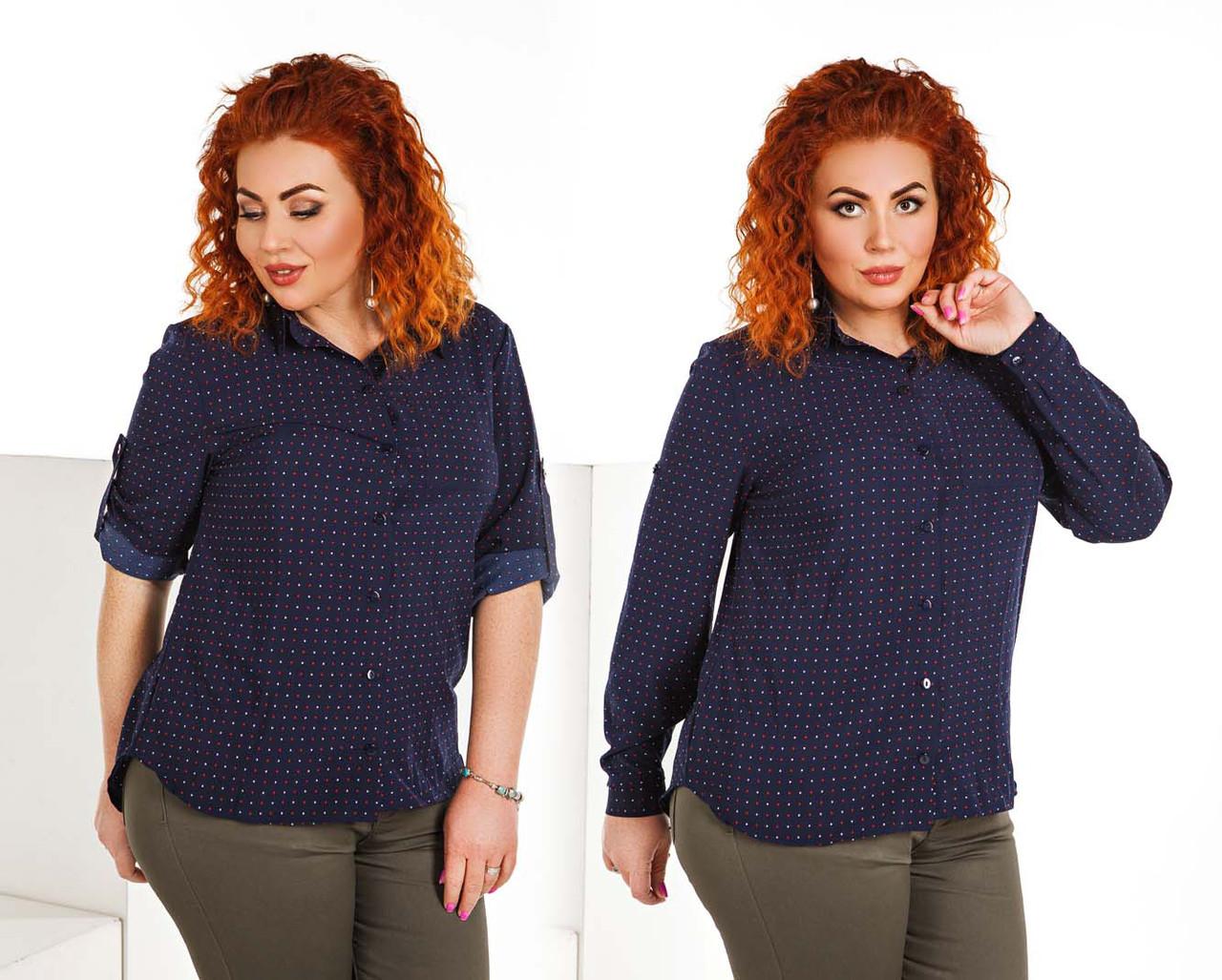 """Женская стильная рубашка в больших размерах 491 """"Софт Сердечки Карман"""" в расцветках"""