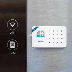 Бездротова GSM, WiFi сигналізація Kerui W18 російське меню. Комплект 3 + дротова сирена, фото 2