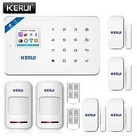 Беспроводная GSM, WiFi сигнализация Kerui W18 русское меню. Комплект 3 + проводная сирена, фото 1
