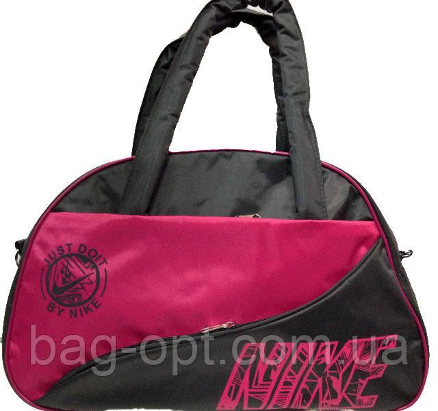 Спортивная сумка серая с розовыми вставками