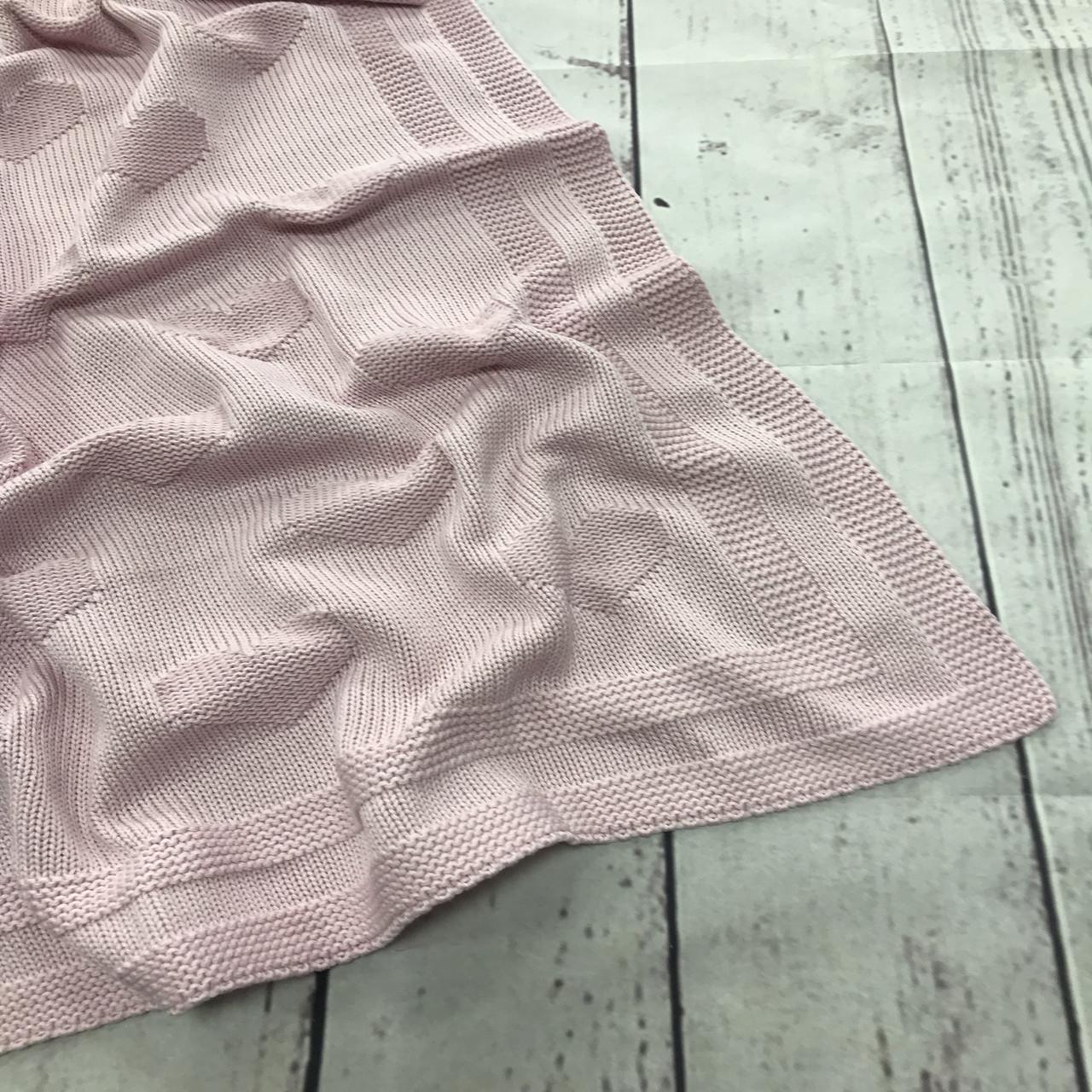 Плед вязанный (90% хлопок, 10% акрил) сердца светло-розовый 95*75 см
