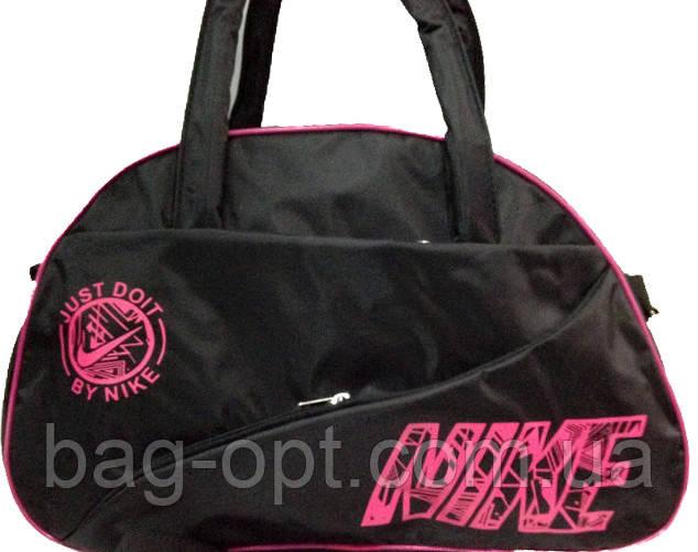 Спортивная сумка черная с розовыми вставками