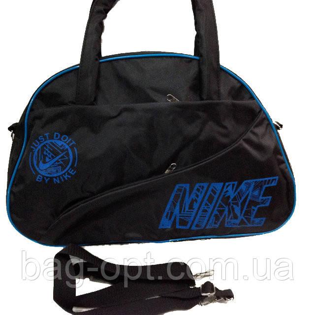 Спортивная сумка черная с голубыми вставками