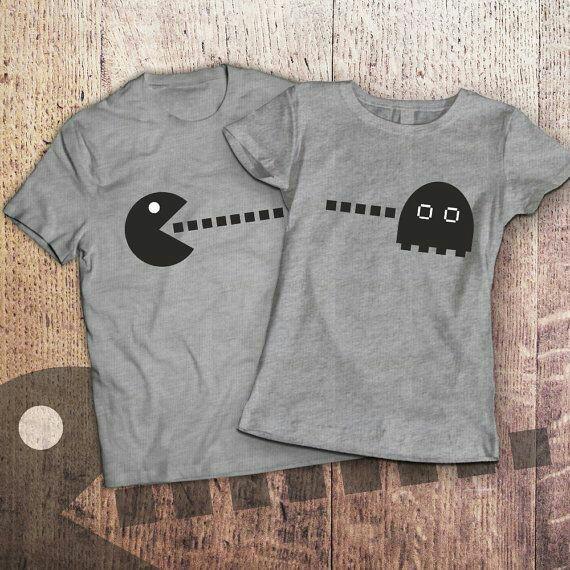 8c297272b364c Парные футболки с принтом Пакман, прикольные футболки для двоих - Dofamin в  Киеве