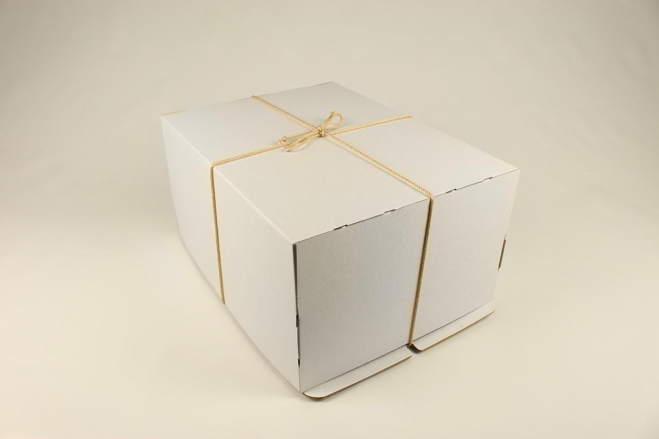 Коробка ГОФР / 400х300х200 мм / ГОФР-Белая / б.о. / для торт