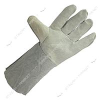 Перчатки рабочие краги замшевые серые эконом 35см