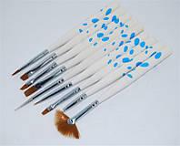 Набор кистей для дизайна и рисования ногтей 9 шт.